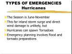 types of emergencies hurricanes