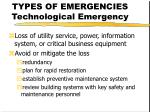 types of emergencies technological emergency