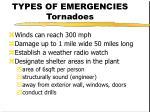 types of emergencies tornadoes