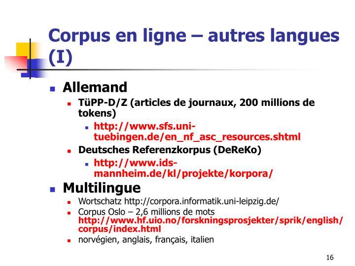 Corpus en ligne – autres langues (I)