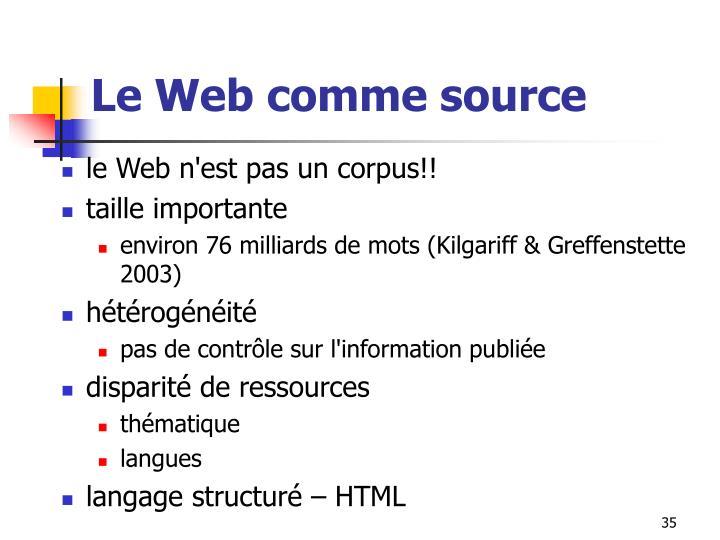 Le Web comme source
