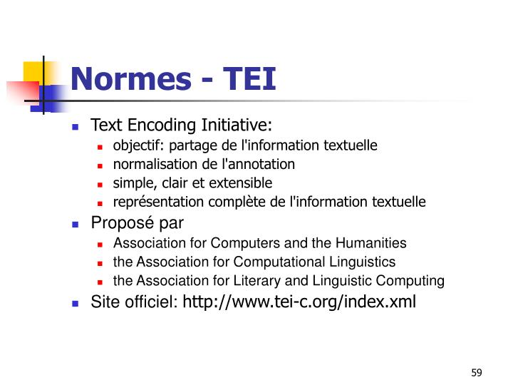 Normes - TEI