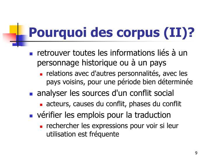 Pourquoi des corpus (II)?