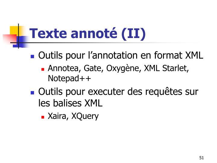 Texte annoté (II)