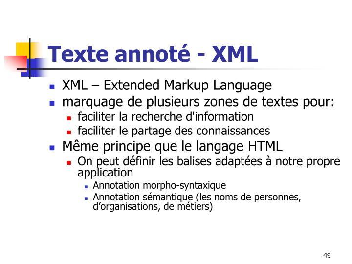 Texte annoté - XML