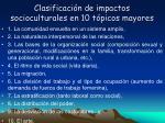 clasificaci n de impactos socioculturales en 10 t picos mayores