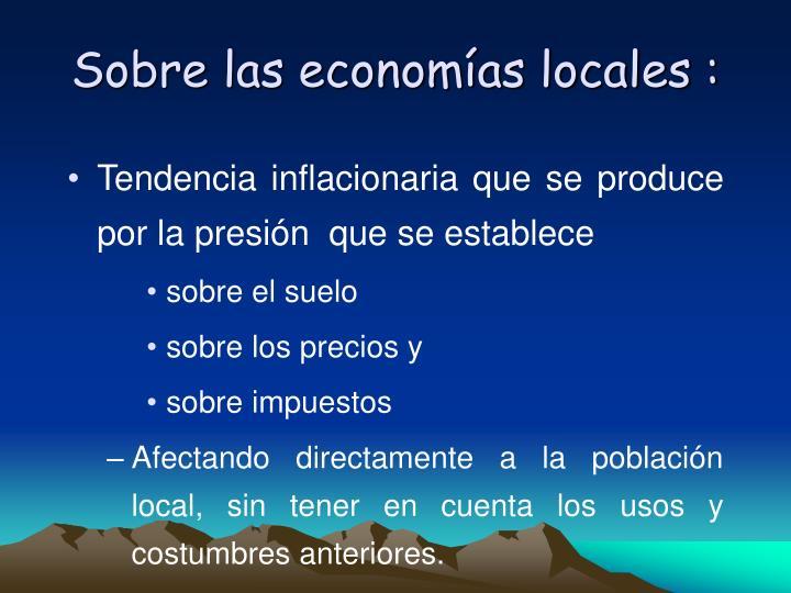 Sobre las economías locales :