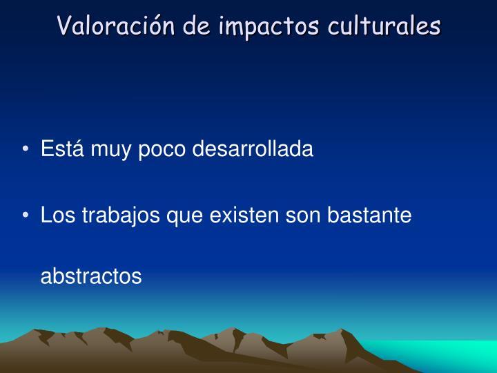 Valoración de impactos culturales
