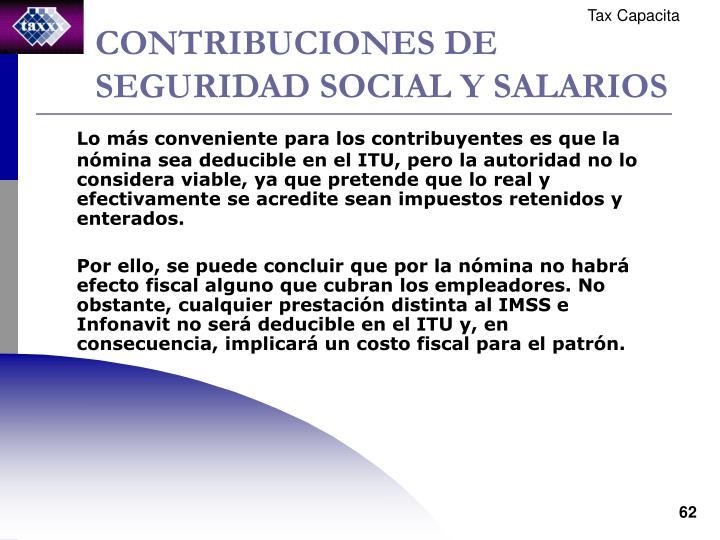 CONTRIBUCIONES DE SEGURIDAD SOCIAL Y SALARIOS
