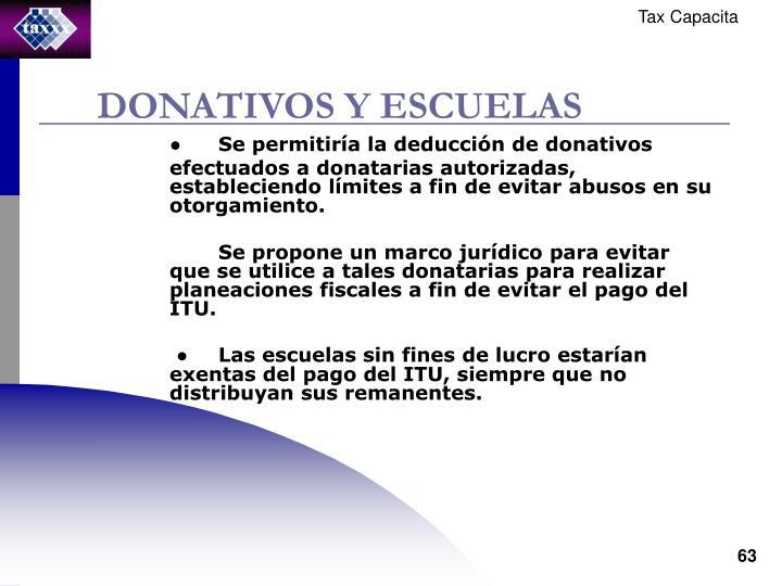 DONATIVOS Y ESCUELAS