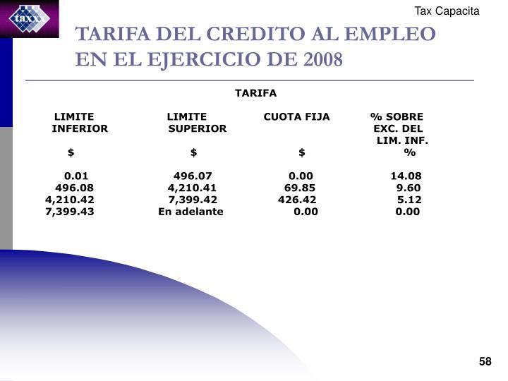 TARIFA DEL CREDITO AL EMPLEO EN EL EJERCICIO DE 2008