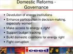 domestic reforms governance