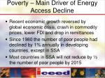 poverty main driver of energy access decline