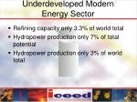 underdeveloped modern energy sector