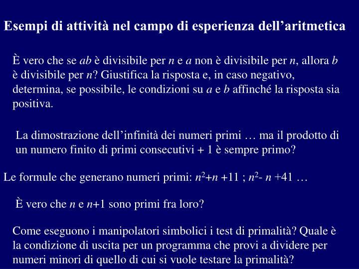 Esempi di attività nel campo di esperienza dell'aritmetica