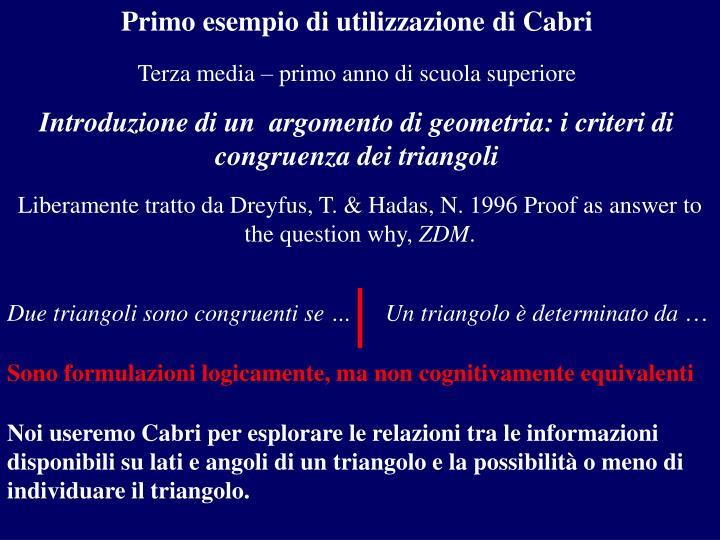 Primo esempio di utilizzazione di Cabri