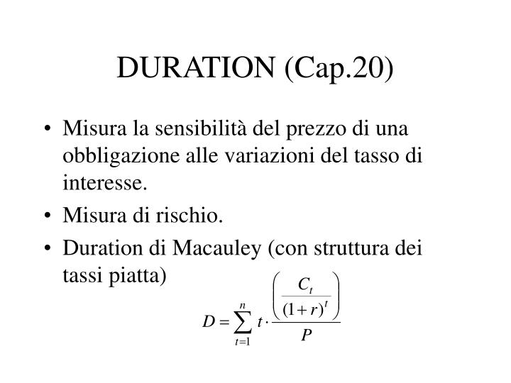 DURATION (Cap.20)