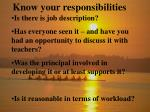 know your responsibilities