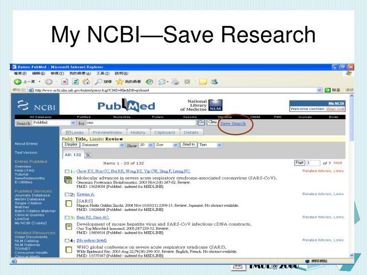 My NCBI—Save Research