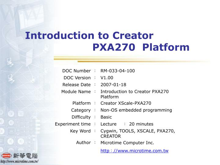 introduction to creator pxa270 platform n.