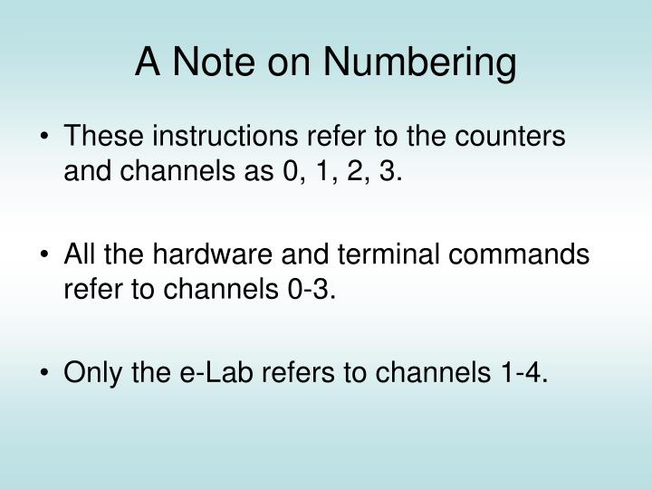 A Note on Numbering