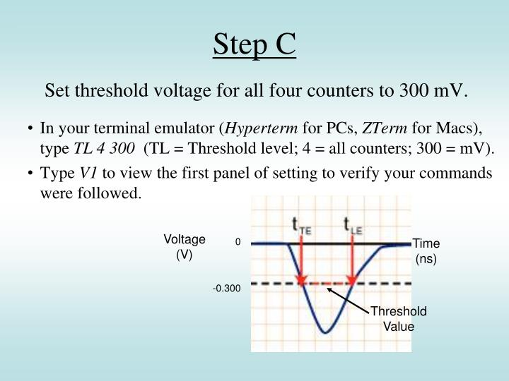 Set threshold voltage for all four counters to 300 mV.