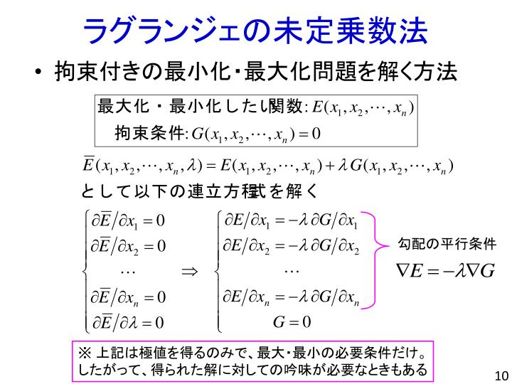 ラグランジェの未定乗数法