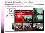 diffusion de la culture scientifique actualis au 15 novembre 2003