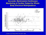 accurate noninvasive continuous monitoring of cardiac output by whole body electrical bioimpedance