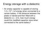 energy storage with a dielectric
