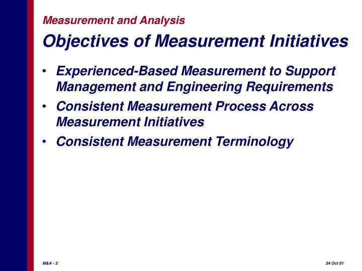 Objectives of measurement initiatives
