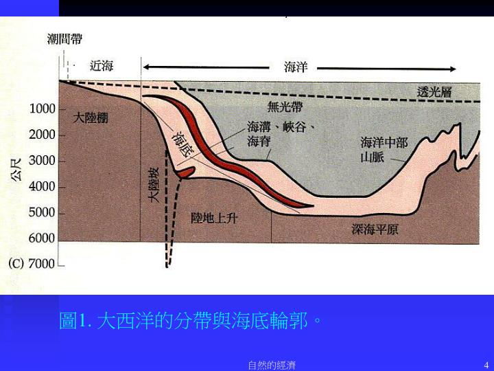 圖1. 大西洋的分帶與海底輪郭。