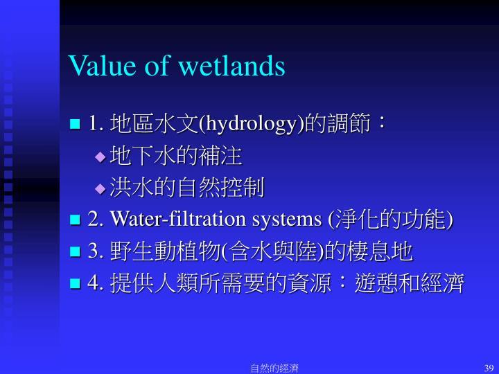 Value of wetlands