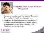 board of governors exam in healthcare management