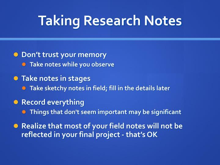 Taking Research Notes