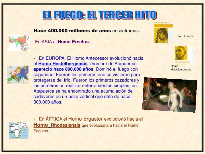 EL FUEGO: EL TERCER HITO