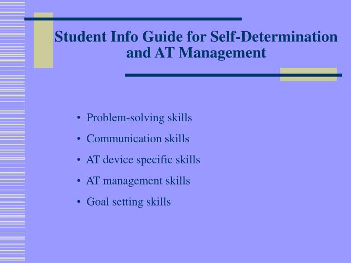 Student Info Guide for Self-Determination and AT Management
