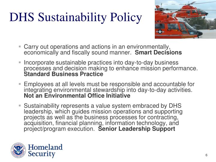 DHS Sustainability Policy