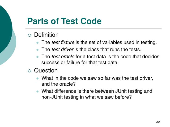 Parts of Test Code