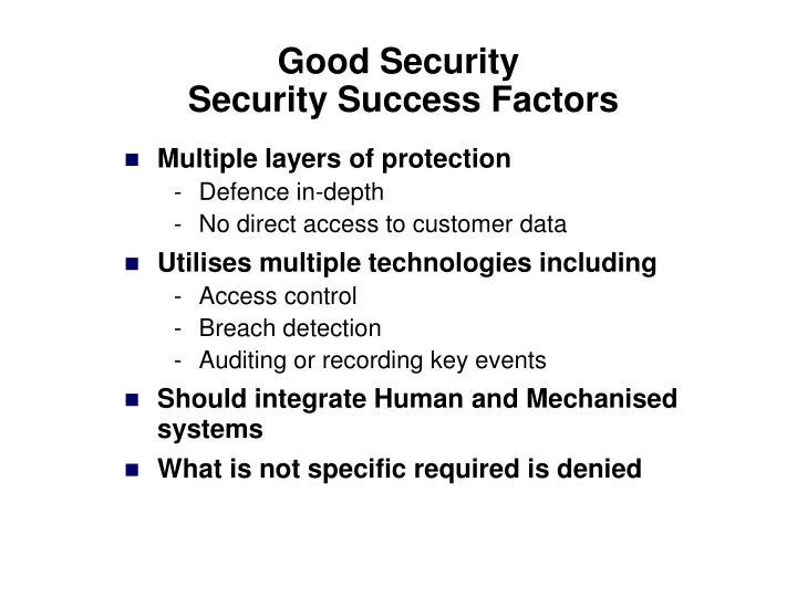 Good security security success factors