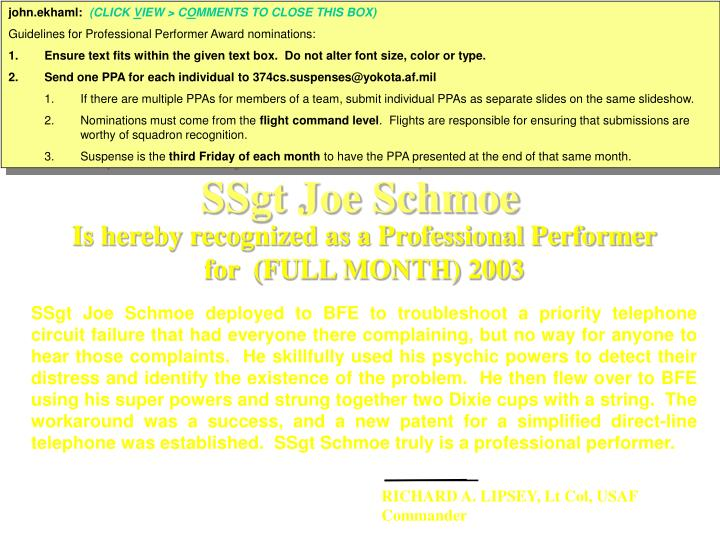 ssgt joe schmoe n.