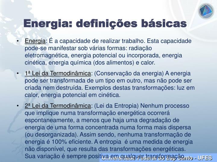 Energia: definições básicas