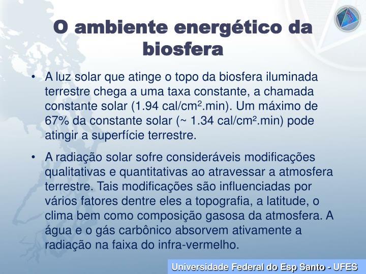 O ambiente energético da biosfera