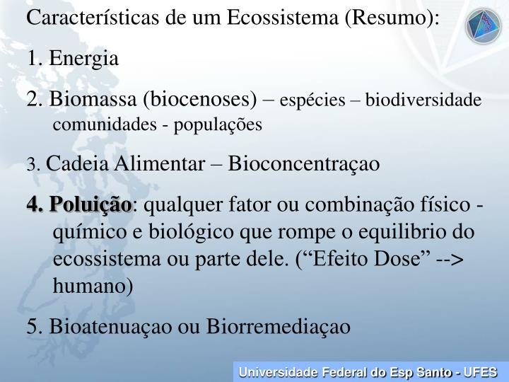 Características de um Ecossistema (Resumo):