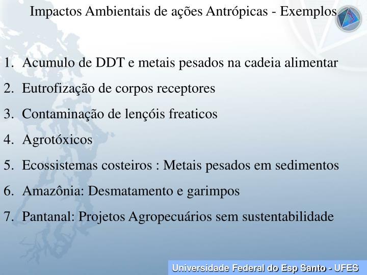Impactos Ambientais de ações Antrópicas - Exemplos