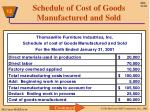 schedule of cost of goods manufactured and sold1