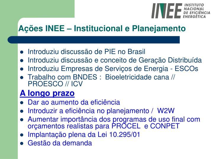 Ações INEE – Institucional e Planejamento