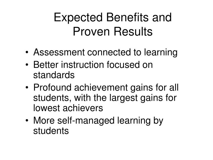 Expected Benefits and