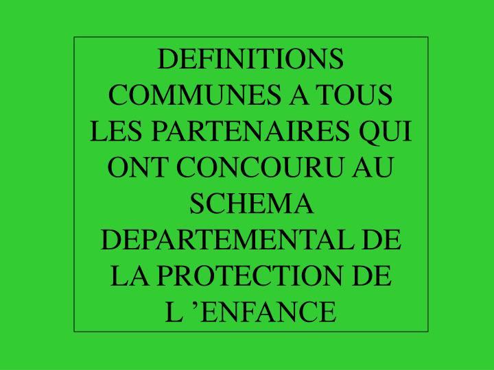 DEFINITIONS COMMUNES A TOUS LES PARTENAIRES QUI ONT CONCOURU AU SCHEMA DEPARTEMENTAL DE LA PROTECTIO...