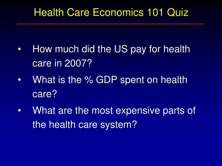 Health Care Economics 101 Quiz